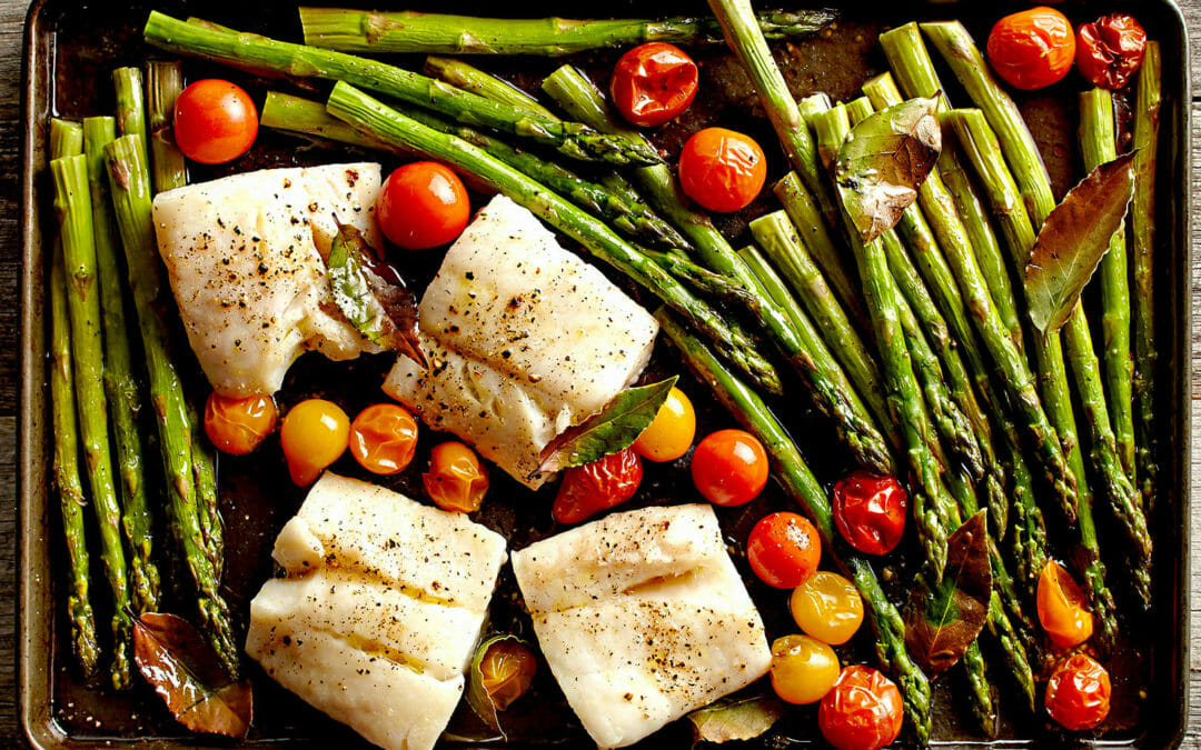 Healthy Recipe: Roasted Asparagus, Fish, and Bay Leaves
